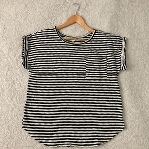 A New Day black and white striped pocket tee